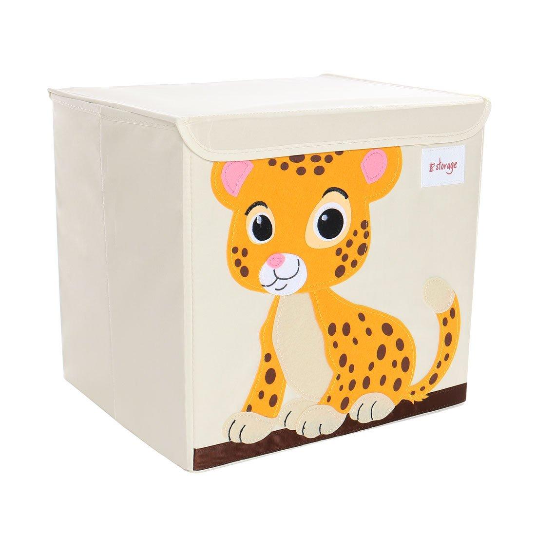 "PICCOCASA Foldable Toy Storage Bins Square Cartoon Animal Nonwovens Storage Box Eco-Friendly Fabric Storage Cubes Organizer for Bedroom Playroom Lid Orange Panther Pattern 13""x13""x13.6"""