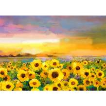 Flowers Diamond Painting Kits for Adults,DIY 5D Full Drill Round Crystal Rhinestone Gem Art Paint Sunflower HD Canvas Dots Diamond Arts Paintings Craft for New Home Wall Deco 16x12in