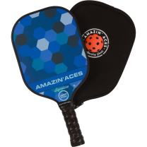Amazin' Aces Signature Pickleball Paddle | USAPA Approved | Graphite Face & Polymer Core | Premium Grip | Includes Paddle, Paddle Cover & eBook | Single Paddle (Blue)