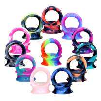 "Oyaface 22/24 PC Tunnel Soft Silicone Flesh Plug Eyelet 8G-1"" Flexible Ear Stretching Gauge Expander"