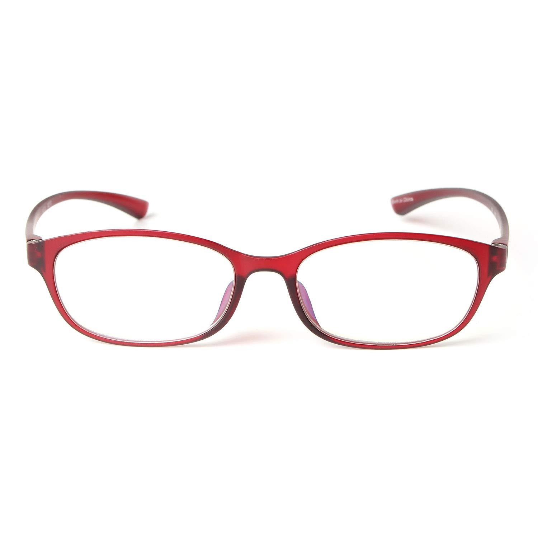 MIDI Colors Blue Light Blocking Oval Reading Glasses for Women (M-210) Blue Light Filter Readers 1.0 1.5 2.0 2.5 3.0 (+1.50, Dark Red)(m210c6150)