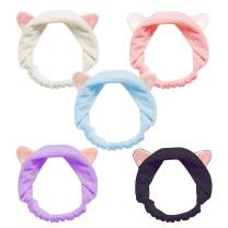 Cat Ears Headbands, Teenitor Elastic Women's Lovely Etti Hair Band, Wash Face Spa Headband-Washable Facial Band Makeup Wrap Headbands Christmas Gift Fits All Head Sizes, 5pcs