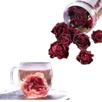 Dried Ink Red Rose Tea - Yunnan Plateau Edible Roses Edible Flower Tea Ink Red Rose Tea Bottled One Flower One Cup Tea for Whitening Relieving Bad Breath Problem & Improving Sleep Gifts for Women