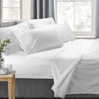 Clara Clark 7-Piece Bed Sheets - Luxury Pleated Sheets Set Bedding Sheet Set, 100% Soft Brushed Microfiber Flat Sheet, Fitted Sheet, Pillowcases Cool & Breathable - Split King - White