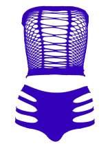 LEMON GIRL Women's Lingerie Fishnet Babydoll Bodysuit Mini Dress Set One Size