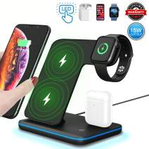 3 in 1 Wireless Charger,15W/10W Qi Fast Wireless Charger Stand for iPhone 11/11 Pro/11 Pro Max/Xs/Xs Max/XR/X/8/8P/Galaxy S10+/S9,Wireless Charging Station with LED Light Fits for iWatch/Airpods-Black