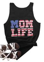 Calvin&Sally Women American Flag Patriotic July 4th Tank Tops Mom Life Workout Shirt USA Stars and Stripes Tanks