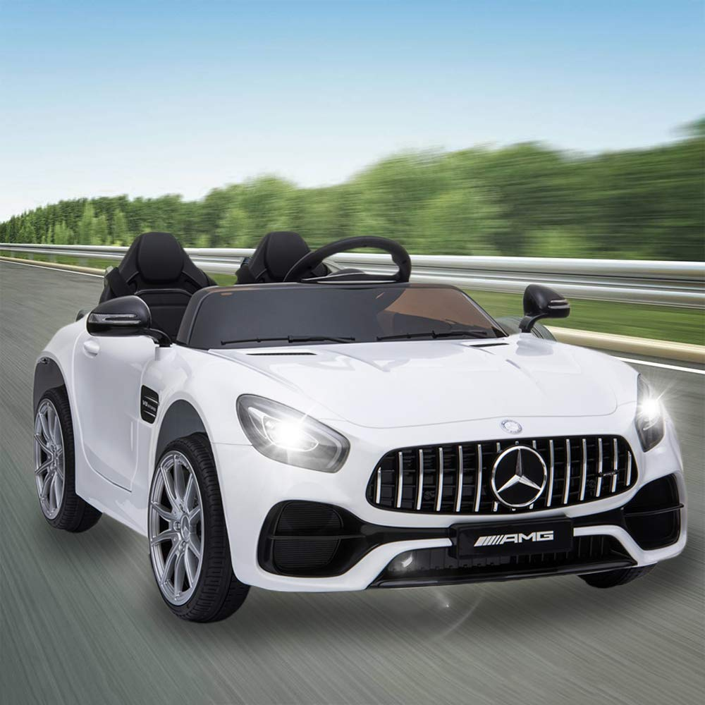 JOYBASE 12V Electric Ride On Car, Licensed Benz Cars for Kids with Remote Control, LED Lights, Music Player, Adjustable Seat Belt, 3 Speed, White