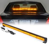 "Xprite 35.5"" Inch 32 LED Strobe Emergency Traffic Advisor Warning Light Bar w/ 13 Flashing Patterns for Firefighter Vehicles Trucks Cars - Amber Yellow"