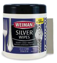 Weiman Jewelry Polish Cleaner and Tarnish Remover Wipes - 20 Count with Polishing Cloth - Use on Silver Jewelry Antique Silver Gold Brass Copper and Aluminum