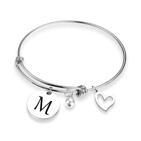 charm bracelet personalised jewellery love heart jewellery initial wrap bracelet Heart bracelet heart gifts
