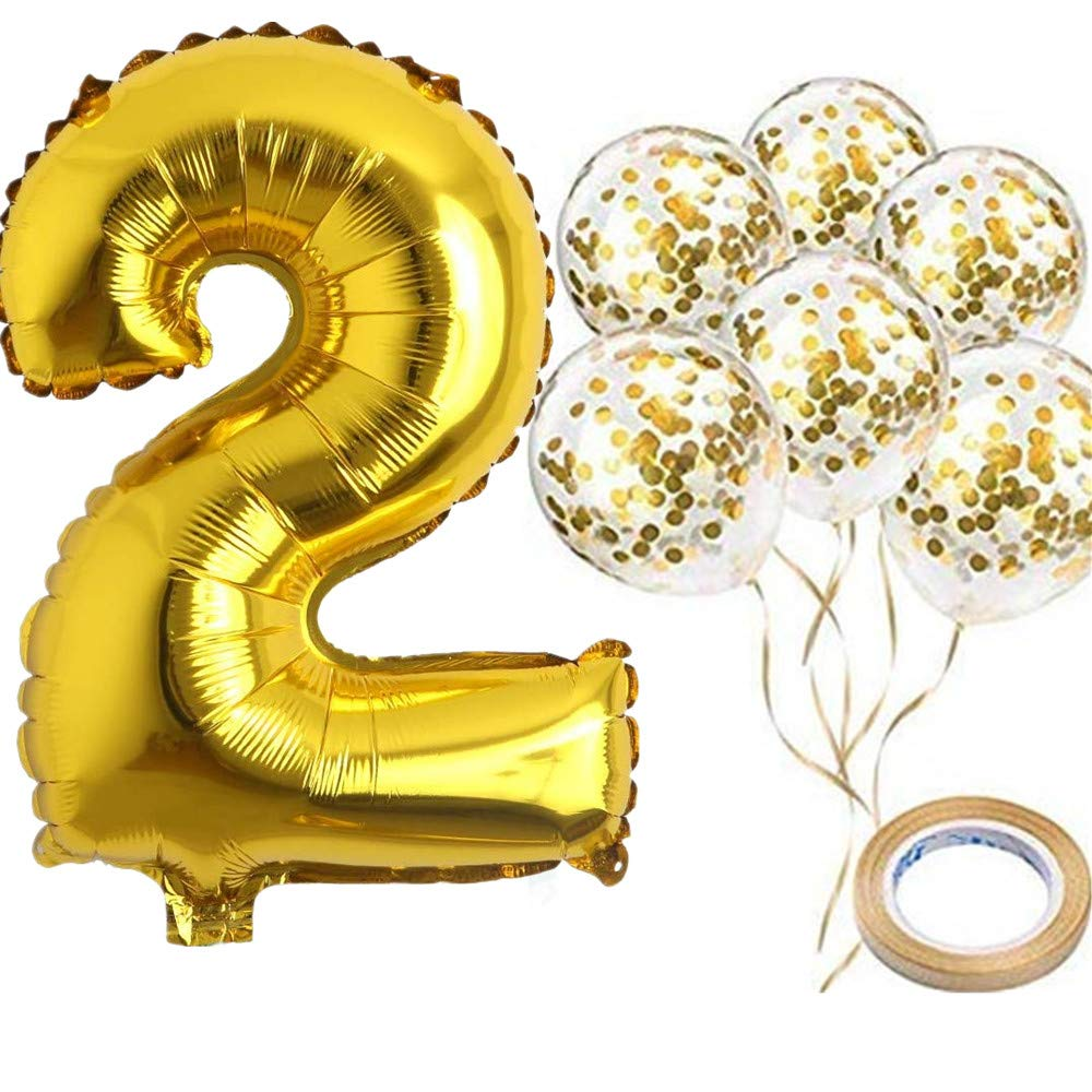"40"" Number 2 Gold Balloon and Gold Confetti Balloons,Foil Mylar Gold Balloons Party Supplies for 2st Birthday Party,Wedding,Engagement,Anniversary Party (Gold)"