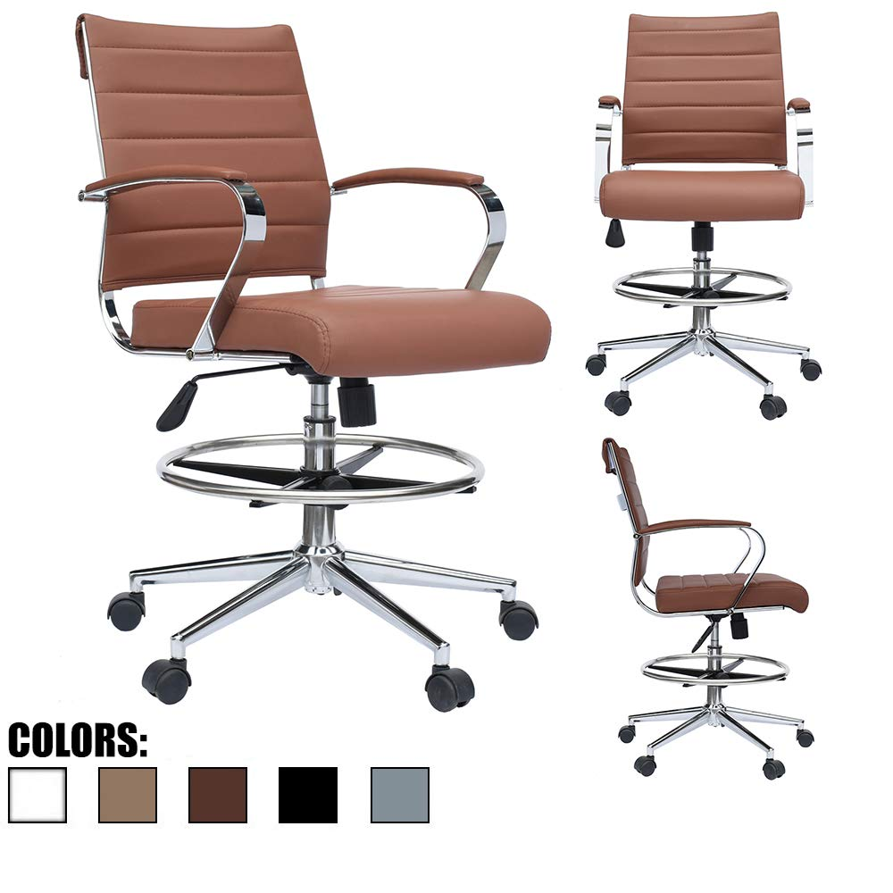2xhome - Modern Adjustable Designer Ergonomic Office Drafting Chair Tilting Seat Office PU Leather Cushion Seat with Arms Foot Rest Ribbed Computer Desk Chair Brown