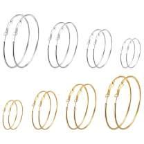Stainless Steel Gold Hoop Earrings - 14K Gold Plated Rose Gold Plated Silver Hoop Earrings for Women Hypoallergenic Dainty Big Large Hoop Earrings Set