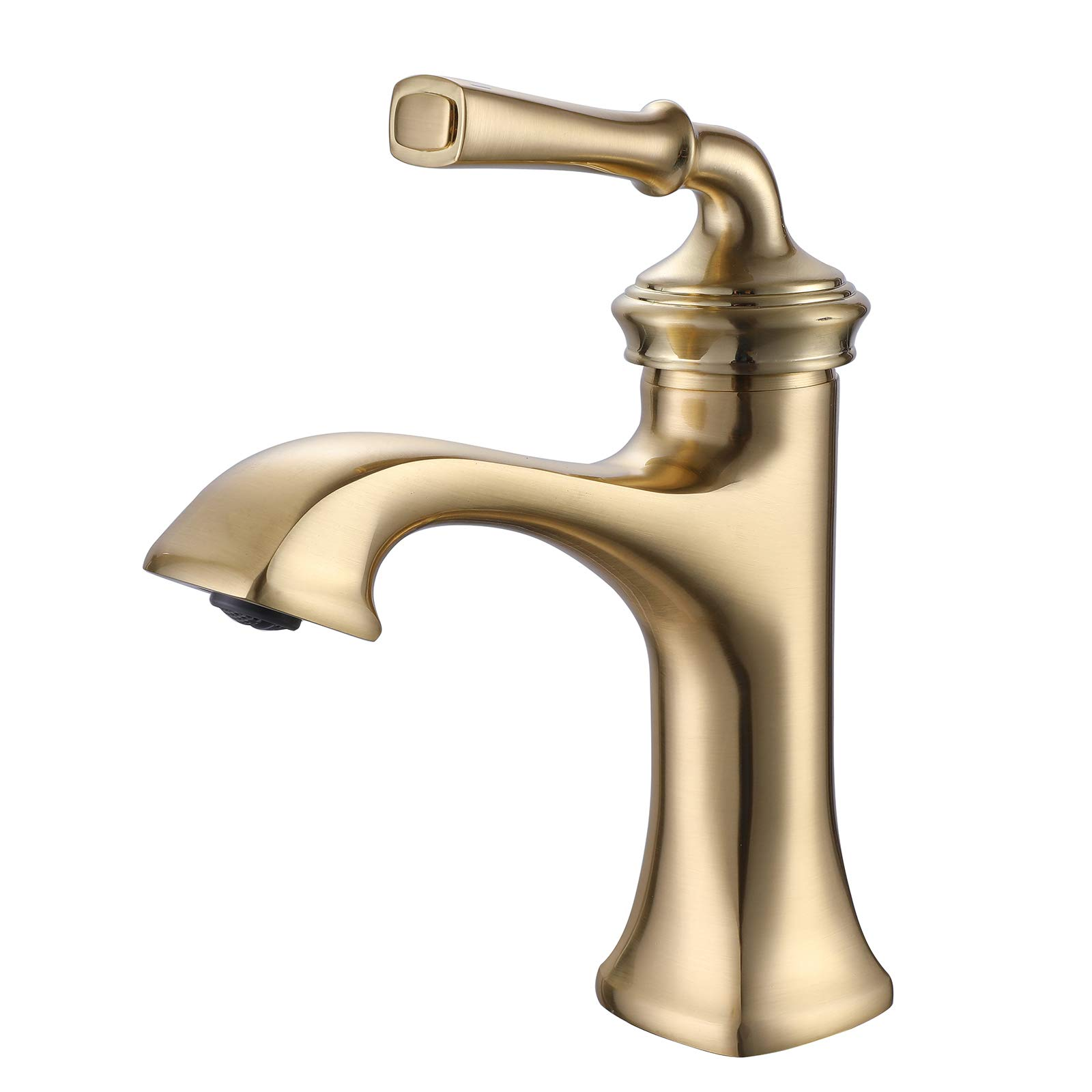 Brushed Gold Farmhouse Bathroom Faucet for Vanity Sink, One Hole Single Handle Bathroom Sink Faucet, Deck Mounted, Solid Brass, RBROHANT RBF65007BG