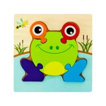 Wooden Frog Puzzles for Toddlers Kids 1 2 3 Years Old, Unique Chunky Animal Puzzle with Board - Preschool Educational Toys Gift for Boys and Girls.(1 Pack)