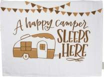 Primitives by Kathy Double-Sided Cotton Pillow Case, 28 x 21-Inches, A Happy Camper Sleeps Here