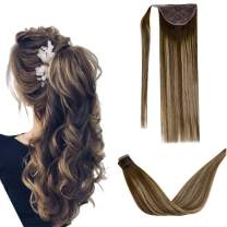LaaVoo 12inch Clip in Ponytail Extension Wrap Around Pony Tail Human Hair Silky Straight Fashional HairPiece Ombre Balayage Dark Brown To Ash Blonde Mixed Brown 70g/Pack #4/18/4