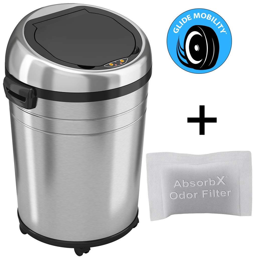 iTouchless AbsorbX Odor Control System, 68 Liter Automatic Garbage Bin, 18 Gal 18 Gallon Commercial Size Touchless Sensor Trash Can, Stainless Steel Round