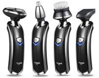 RUNWE Men's Electric Razor Beard Trimmer Nose Trimmer, All-in-1 Wet/Dry Hair Clipper, Rotary Shaver, Ear Trimmer and Face Cleaning Brush for Men