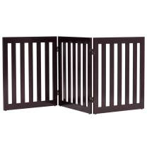 Giantex 24'' Wooden Dog Gate, Configurable Freestanding Pet Gate for Small to Medium Sized Pets, Step Over Fence, Foldable Panels for House Doorway Stairs Extra Wide Pet Safety Fence (60'' W, Brown)