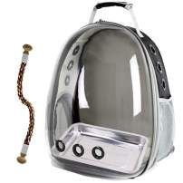 halinfer Bird Carrier Backpack, Bubble Bird Travel Carrier Backpack with Stainless Steel Tray and Standing Perch