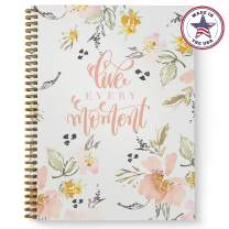 """Softcover Live Every Moment 8.5"""" x 11"""" Motivational Spiral Notebook/Journal, 120 College Ruled Pages, Durable Gloss Laminated Cover, Gold Wire-o Spiral. Made in the USA"""