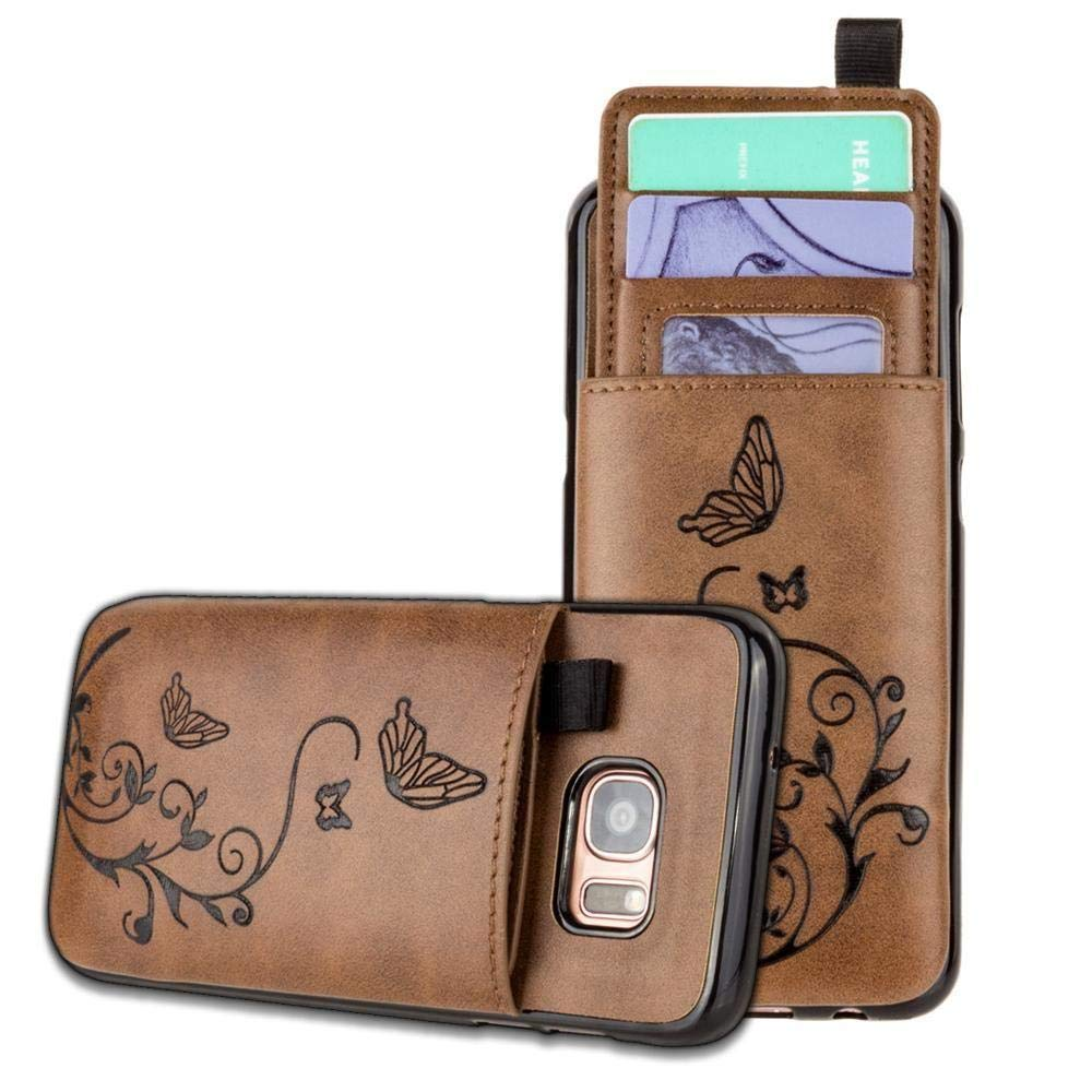 Galaxy S7 Edge Wallet Case, Slim PU Leather with Matching Detachable Slide Out Card Slot Organizer [Butterfly Pull Out - Brown]