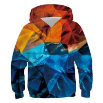 uideazone Kids Boys Girls 3D Graphic Pullover Hoodies Casual Hooded Sweatshirt with Pockets 6-16 Years