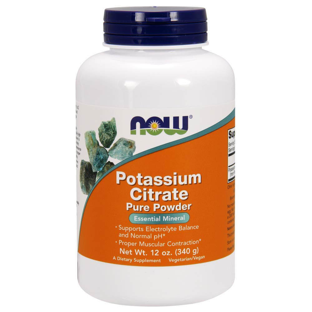 NOW Supplements, Potassium Citrate Powder, Supports Electrolyte Balance and Normal pH*, Essential Mineral, 12-Ounce