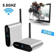 Wireless Video Sender measy AV540 5.8GHz Wireless Audio Video Sender with IR Remote Range up to 400m/1330ft to Camera,TV