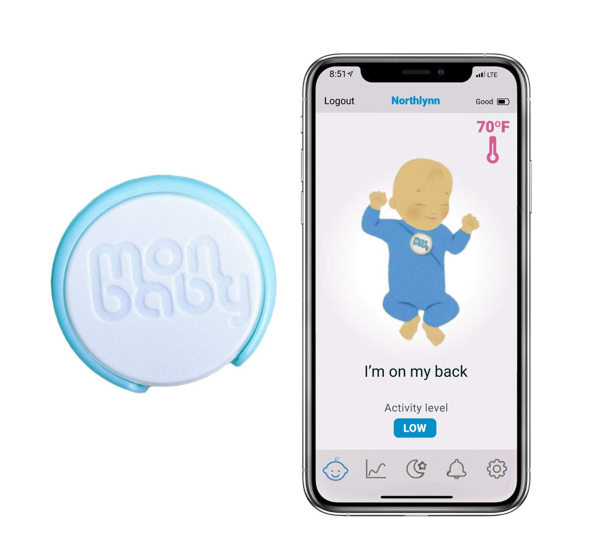 MonBaby (A) Baby Monitor with Breathing, Rollover and Temperature Sensors: Track Baby's Breathing, Body Movement, Ambient Temperature. No Skin Contact or Diaper Placement Necessary.