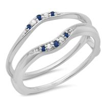 18K Gold Round Blue Sapphire & White Diamond Ladies Anniversary Wedding Band Guard Double Ring 1/10 CT