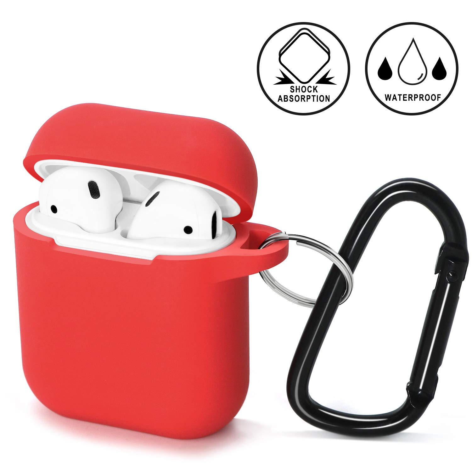 Compatible AirPods Case, Ambison Compatible AirPod Case Silicone Protective Cover Skin Charging Case Holder Case Anti-Lost Carabiner (Red)