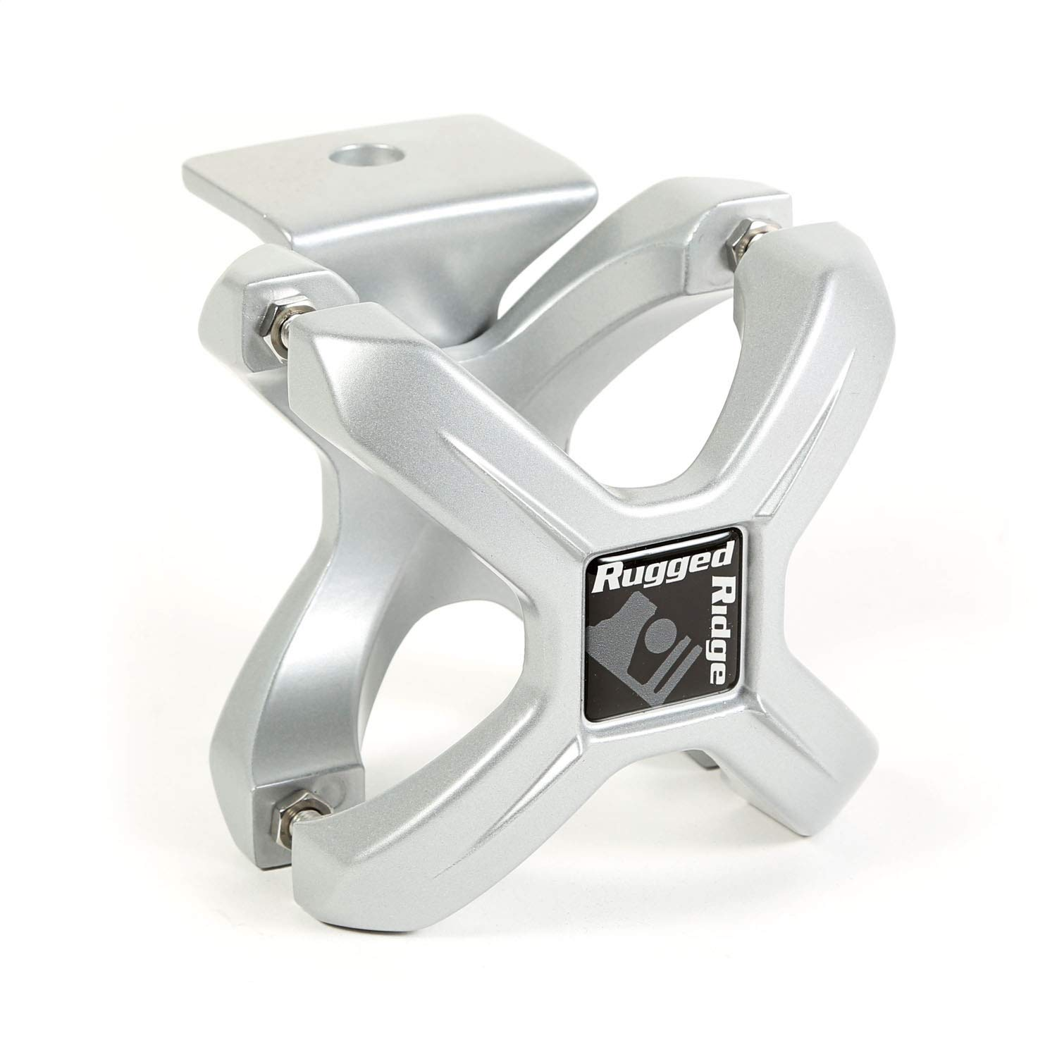 """Rugged Ridge 11030.10 Silver X-Clamp for 2.25-3"""" Tube Bumper Roll Bar and Cage Accessory Mount"""