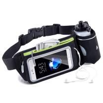SLuB Running Belt,Window Swipe Touch Screen Waist Pack with Water Bottle Holder,Adjustable Straps Waist Bag(Black)