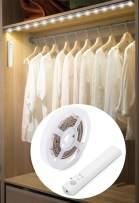LED Battery Operated Bed Light, Dual Mode Motion Night Light, Flexible Led Strip Battery Motion Sensor Closet Light Rope Light Kit for Bedroom Cabinet, Nature White 4000K