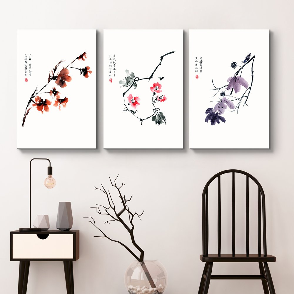 "wall26 - 3 Panel Canvas Wall Art - Red, Pink, Purple Flowers with Chinese Writing Watercolor Art - Giclee Print Gallery Wrap Modern Home Decor Ready to Hang - 24""x36"" x 3 Panels"