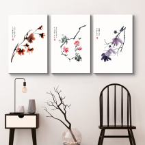 """wall26 - 3 Panel Canvas Wall Art - Red, Pink, Purple Flowers with Chinese Writing Watercolor Art - Giclee Print Gallery Wrap Modern Home Decor Ready to Hang - 24""""x36"""" x 3 Panels"""