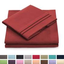 King Size Bed Sheets - 4 Piece - Extra Soft Hotel Luxury King Sheet Set - Deep Pockets, Hypoallergenic - Wrinkle & Fade Resistant - Kings Sheets - Cozy - Burgundy Red Bedding - 4 PC Set