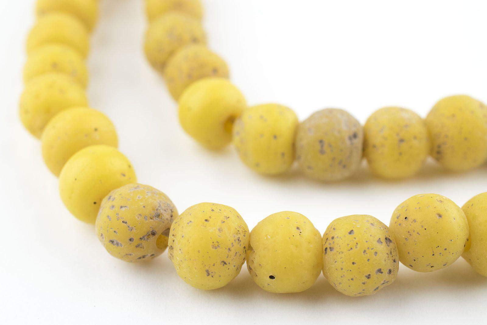 TheBeadChest Ancient-Style Java Glass Beads, Round Indonesian Handmade Fair Trade Etched Spacers for DIY Jewelry Making and Crafts (Yellow)