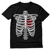 Skeleton Rib Cage Heart Xray Halloween Easy Costume T-Shirt