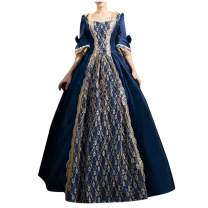 Womens's Medieval Renaissance Costume Cosplay Over Dress Palace Retro Lace Stitching Big Flared Sleeves Lolita Dress