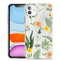 Unov Case Clear with Design for iPhone 11 Case Slim Protective Soft TPU Bumper Embossed Pattern Cover 6.1 Inch (Seasons Flower)