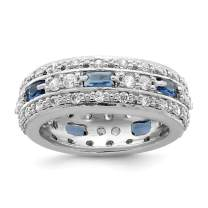 925 Sterling Silver Dark Blue Clear Cubic Zirconia Cz Wedding Ring Band Fine Jewelry For Women Gift Set