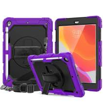 New iPad 10.2 2019 Case with Pencil Holder, CASZONE [Built-in Screen Protector] Heavy Duty Shockproof Rugged Protective Cover with Hand/Shoulder Straps for iPad 7th Generation 2019 10.2 inch, Purple