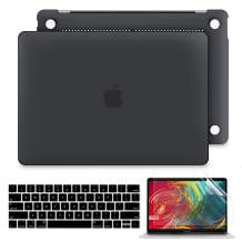 Batianda Compatible for New MacBook Pro 13 inch Case 2019 2018 2017 2016 Release with/Without Touch Bar Model A1989 A1706 A1708 Frosted Hard Shell Silicone Keyboard Cover and Screen Protector (Black)