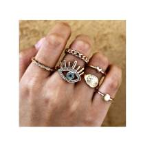 Campsis 6PCS Gold Evil's Eye Ring Sets Simple Joint Knuckle Rings Vintage Multi Size Rings Jewelry for Women and Girls