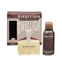 Ambition for Men EDP - Eau De Parfum & Deodorant (Deo) 70 & 150 ML (2.4 & 5 oz) | Mahogany Wood | Inspiration From Egypt's Age Old Papyrus | Chic Bottle | by RASASI Perfumes