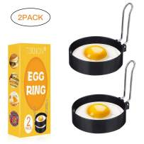 Egg Ring,Egg Ring Set,Egg Cooking Rings,Round Egg Pancake Maker Mold with Oil Brush,Stainless Steel Non Stick Metal Circle Shaper Mold,Kitchen Cooking Tool for Frying McMuffin or Shaping Eggs,2 Pack